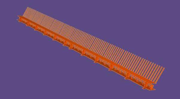 Fésűs szellőzőléc - 85 mm x 1 m - téglavörös