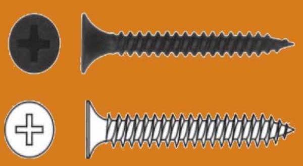 Kisdobozos sűrűmenetes önmetsző gipszkarton csavar fémhez - 3,5 x 25 mm3,5 x 25 mm