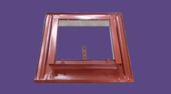 Tetővilágító, horganyzott, festett - 53 x 55 cm - téglavörös